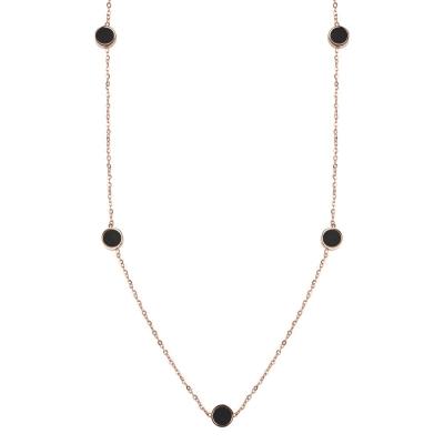 Ketting Elegant Rondjes RVS - Rose Goud Zwart Wit