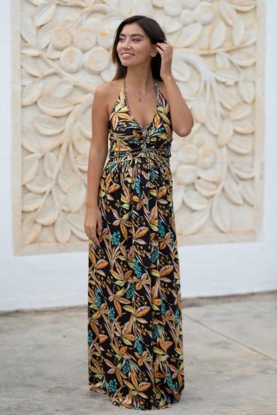 Halter jurk Baoli - Zwart Oker