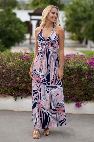 Halter jurk Na Xamena - Navy Roze